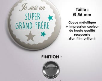 "Badge ""Super Grand Frère"" - Coloris Turquoise"