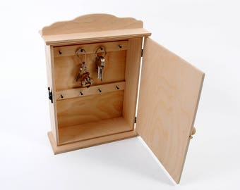 Key Holder Rack With Metal Key Hooks  Key Cabinet  Wooden Key Box Holder  Wardrobe
