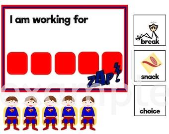 Superman Inspired Token Board Behavior Chart ABA Autism PDF Digital Download