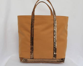 Camel Tote in camel cotton with sequins