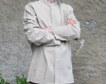 shirt collar mao linen mix