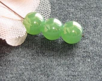 6 beads round Czech glass bead silver plated sea green glass 10 mm