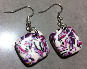 Fimo earrings small variation of pink diamond