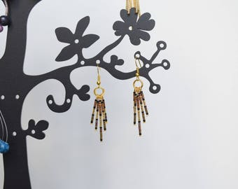 Earrings Golden beads and 24 k gold