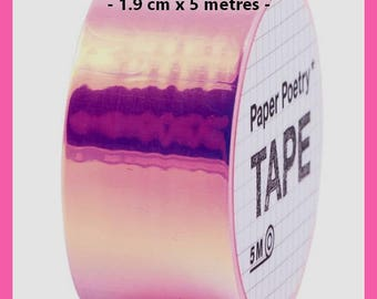 Washi tape mirror - Rainbow Fuchsia - 1.9 cm x 5 m - new