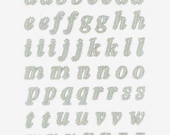 Stickers lace 3D - tiny Alphabet - 1.2 to 2.2 cm - 53 pcs