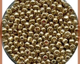 Gold metallic seed bead - 2.5 mm in plastic - box 15 g - new