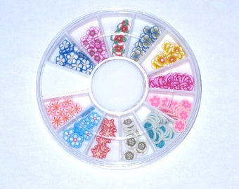 Box of 150 flowers fimo cane slices