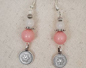 Natural pink morganite bead silver plated hook earrings white jade bead