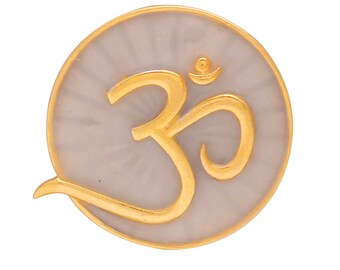 OM Sterling Silver Pendant, Gold plated.