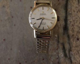 Omega vintage ladies automatic turler geneve swiss gold plated watch