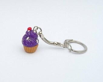 Purple cupcake Keychain with polymer clay