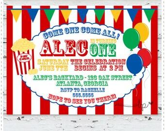 Carnival Balloons Birthday Invitation