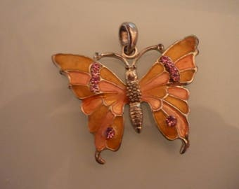 5 cm x 4 cm enameled Butterfly pendant