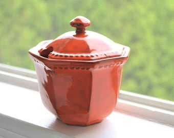 Mid Cenury Orange Sugar Bowl, Made in Italy