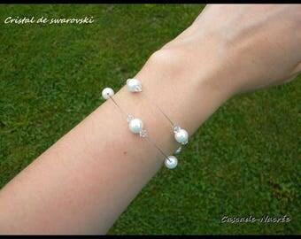 White Crystal bridal bracelet swarovski Pearl Bridal