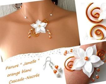 finery janelle orange white bridal flower wedding Pearl Silver Aluminum