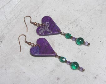 Purple and green heart swarovski jewel polymer clay earrings handmade by Little