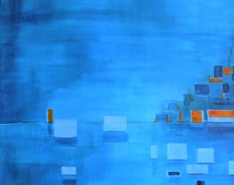 SOLD - Blue - abstract painting 50 x 70 cm