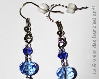 Pair of Blue Crystal dangling earrings
