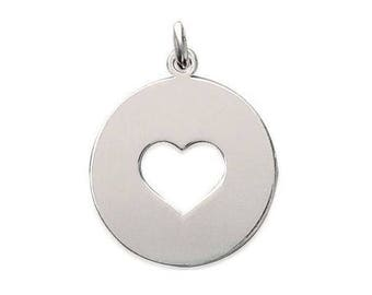 Medal pendant personalize engraved heart sterling silver 22 mm