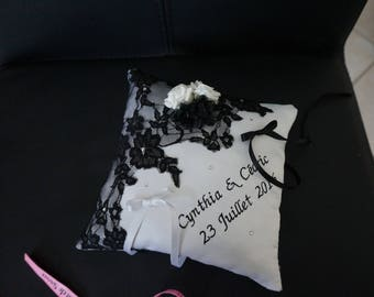 black and white wedding lace ring pillow