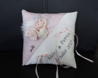 romantic powder pink wedding ring cushion