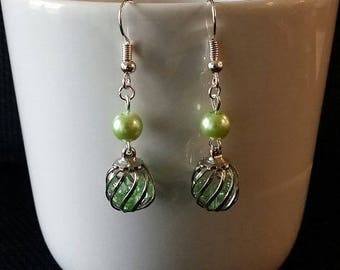 """Green Cage"" earrings 3.5 cm"
