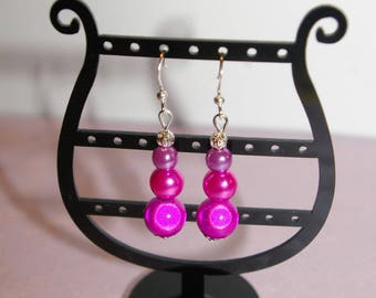Earrings three magical pink and purple beads