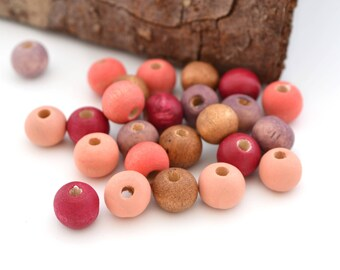 Mix of 25 pink coral beads, peach, cherry and Brown wood 8 mm round