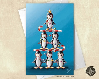 Penguin greeting and candy canes Christmas tree card