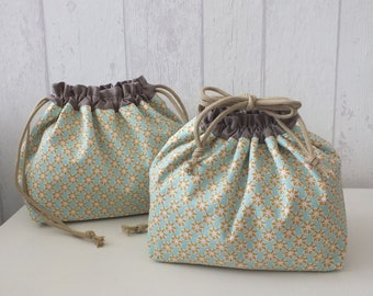 "Set of 2 bags purse ""Obento Kinchaku"" cotton geometric (No. 22)"