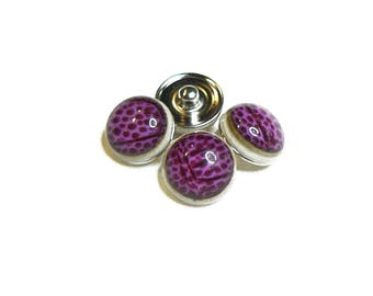 Snap - M - Metal Doublebeads - with synthetic Cabochon - Fuchsia/Burgundy and silver