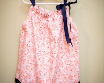 Little girls floral dress with bow