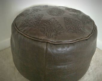 Moroccan handmade Leather Pouf (Unstuffed) with pressed motifs