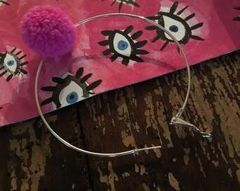 Large PomPom Hoop Earrings
