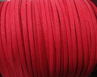 2 m cable flat red suede