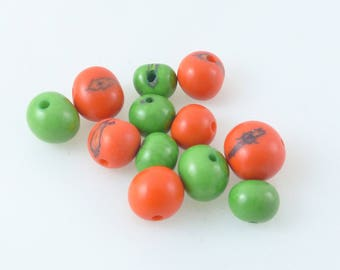 Acai seeds, Orange and green set of 12