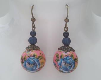 Pink tensha beads earrings