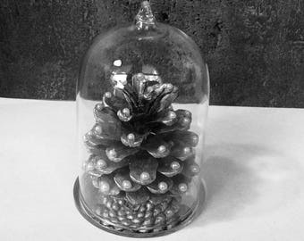 Christmas ornament - Pinecone beaded under glass