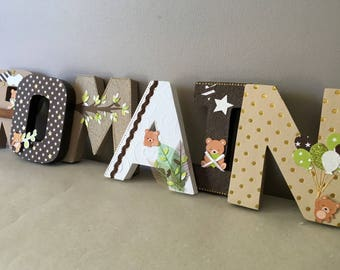 100% customizable - paper mache - 12 cm - Teddy bear themed name letters
