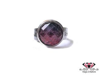 Adjustable ring cabochon pink glitter gradient