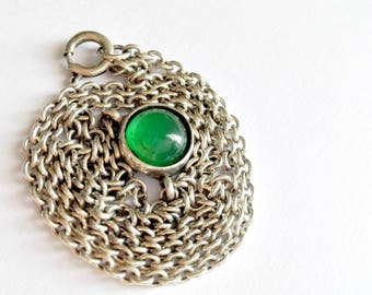 Vintage 925 Silver Green stone necklace