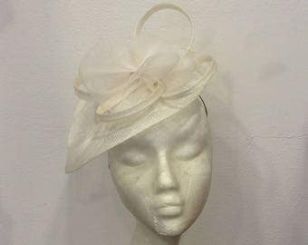 Off-white, white wedding fascinator form ROSETTES heart flower and feathers