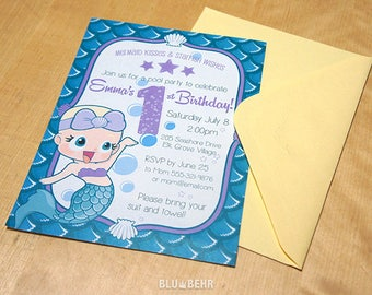 Mermaid Baby Invitation