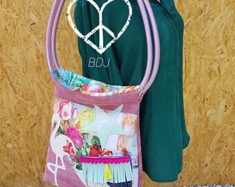 Bohemian pink Flamingo tote bag a Mano
