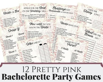 12 Pretty Pink Rose Bachelorette Party Games, Printable Bachelorette Party Game, Bridal Shower Game, Hens Night Game