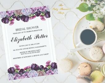 Bridal Shower Invitation With Watercolor Flowers, Purple Peonies Party Invitation, Watercolor Peonies Printable Invitation DIGITAL FILES