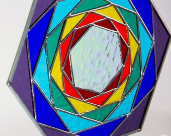 Hexagonal Geometric Colors Stained Glass Beveled Yoga Chakra Meditation Tiffany Style 9""