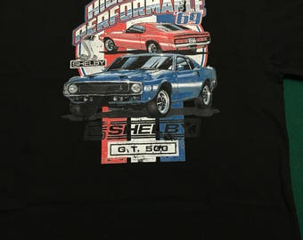 Shelby GT500 T Shirt High Performance 1969 Ford Mustang cobra Carroll Shelby Black Abult Large